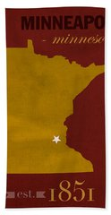 University Of Minnesota Golden Gophers Minneapolis College Town State Map Poster Series No 066 Hand Towel by Design Turnpike