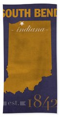 University Of Notre Dame Fighting Irish South Bend College Town State Map Poster Series No 081 Hand Towel by Design Turnpike