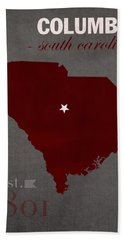 University Of South Carolina Gamecocks Columbia College Town State Map Poster Series No 096 Hand Towel