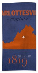 University Of Virginia Cavaliers Charlotteville College Town State Map Poster Series No 119 Hand Towel