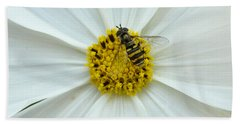 Up Close With The Bee And The Cosmo Bath Towel by Verana Stark