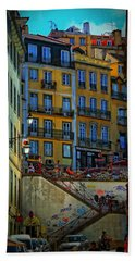 Up The Stairs - Lisbon Hand Towel by Mary Machare