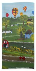 Hand Towel featuring the painting Up Up And Away by Virginia Coyle