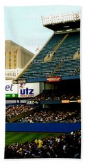 Bath Towel featuring the pyrography Upper Deck  The Yankee Stadium by Iconic Images Art Gallery David Pucciarelli