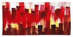 Urban Abstract Evening Lights Hand Towel by Irina Sztukowski