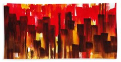 Urban Abstract Glowing City Hand Towel by Irina Sztukowski