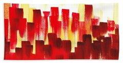 Urban Abstract Red City Lights Hand Towel by Irina Sztukowski