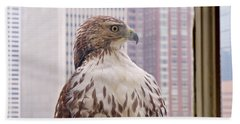 Bath Towel featuring the photograph Urban Red-tailed Hawk by Rona Black