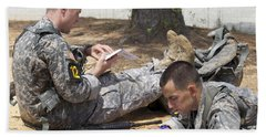 U.s. Army Rangers Map Out Their Route Hand Towel