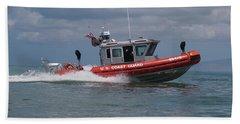 Us Coast Guard Boat Patrol In Pacific Bath Towel