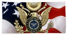 U. S.  Navy Captain - C A P T  Rank Insignia Over Gold Great Seal Eagle And Flag Bath Towel