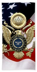 U. S.  Navy Captain - C A P T  Rank Insignia Over Gold Great Seal Eagle And Flag Hand Towel