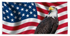 Hand Towel featuring the photograph Usa Flag And Bald Eagle by Carsten Reisinger