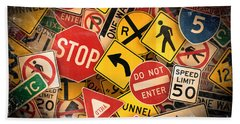 Hand Towel featuring the photograph Usa Traffic Signs by Carsten Reisinger