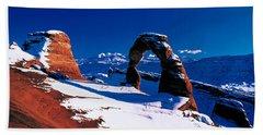 Usa, Utah, Delicate Arch, Winter Bath Towel