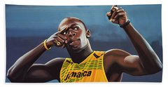 Usain Bolt Painting Hand Towel
