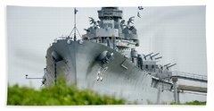 Hand Towel featuring the photograph Uss Alabama 2 by Susan  McMenamin