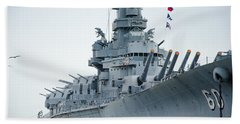 Hand Towel featuring the photograph Uss Alabama 3 by Susan  McMenamin