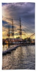 Uss Constitution Sunset - Boston Bath Towel by Joann Vitali