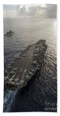 Uss George Washington And Uss Mobile Hand Towel