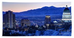 Utah Capitol And Oquirrh Mountains Winter Sunset Hand Towel