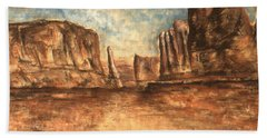Utah Red Rocks - Landscape Art Painting Hand Towel