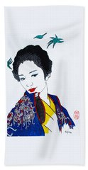 Hand Towel featuring the painting Utsukushi Geisha 2 by Roberto Prusso