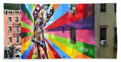 V - J Day Mural By Eduardo Kobra Hand Towel by Allen Beatty