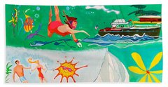 Bath Towel featuring the painting Vacation All I Ever Wanted by Beth Saffer