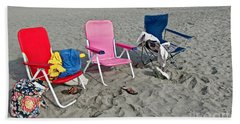 Vacation Time Beach Art Prints Hand Towel by Valerie Garner