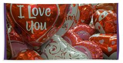 Hand Towel featuring the photograph Valentine Balloons by Sandi OReilly