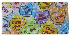 Hand Towel featuring the painting Valentine Candy Hearts by Kathy Marrs Chandler