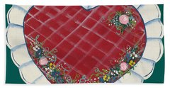 Bath Towel featuring the painting Valentine Heart by Barbara McDevitt