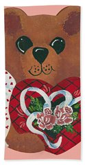 Hand Towel featuring the painting Valentine Hug by Barbara McDevitt