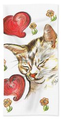 Valentine Cat Bath Towel