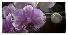 Variegated Fuscia And White Orchid Bath Towel by Lynn Palmer