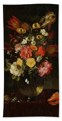 Vase And Flowers, 1655 Hand Towel