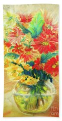 Hand Towel featuring the painting Vase by Jasna Dragun