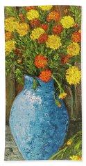 Vase Of Marigolds Bath Towel