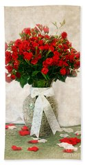 Vase Of Red Roses Hand Towel by Lena Auxier