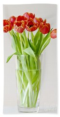 Vase Of Tulips Hand Towel by Dee Cresswell