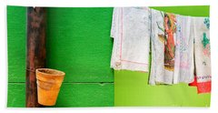Bath Towel featuring the photograph Vase Towels And Green Wall by Silvia Ganora