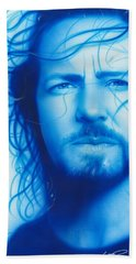 Eddie Vedder - ' Vedder ' Hand Towel by Christian Chapman Art