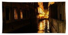 Bath Towel featuring the photograph Venetian Golden Glow by Georgia Mizuleva