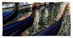 Bath Towel featuring the photograph Venetian Gondolas by Georgia Mizuleva