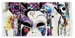Venetian Mask Hand Towel by Barbara Chichester