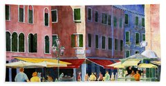 Hand Towel featuring the painting Venetian Piazza by Roger Rockefeller