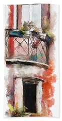 Bath Towel featuring the painting Venetian Windows 4 by Greg Collins