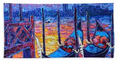 Venice Mysterious Light - Gondolas And San Giorgio Maggiore Seen From Plaza San Marco Hand Towel