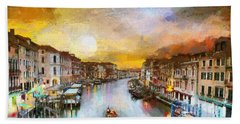 Bath Towel featuring the painting Sunrise In The Beautiful Charming Venice by Georgi Dimitrov